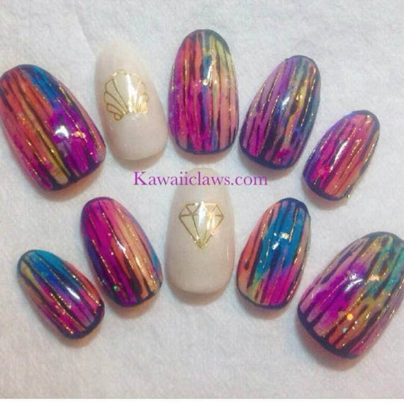 Neon Tiedye Marble Glitter Gel Nail Art Press On False Fake Etsy
