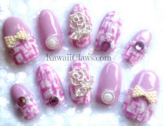 Tweed rose kawaii faux/faux ongles 3D japonais gel ongles avec des perles  de Swarovski rose