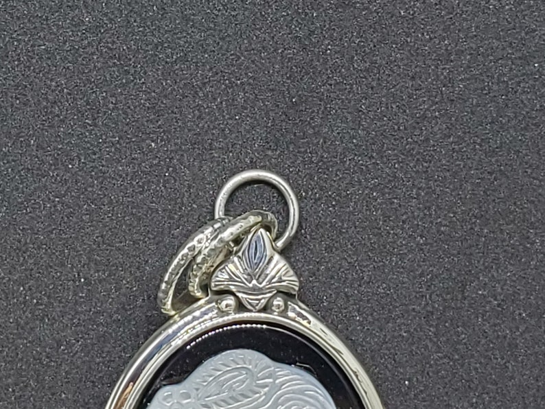 Black Hand made sterling silver pendant cameo m.o.p and onyx oval cameo,62x32mm, 925 silver brand new Hand crafted