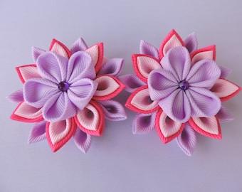 Handmade Kanzashi girls toddler baby hair clips bows. Japanese hair pieces.Set of 2.