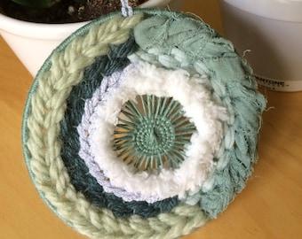 "Mini weaving ""Almond green and silver Christmas"""