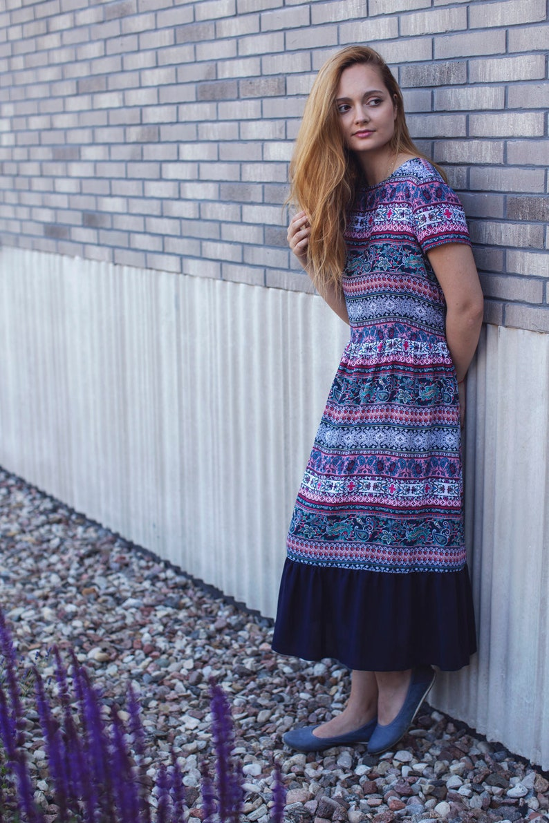 2debbf260e3e Summer Dress Vintage Dress Midi Dress Short Sleeve Dress