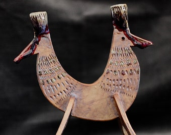 Ceramic two-headed chicken candleholder