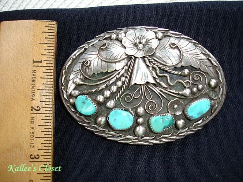 Vintage Intricate FLOWER NAVAJO Kingman TURQUOISE Multi-Stone Silver Belt Buckle