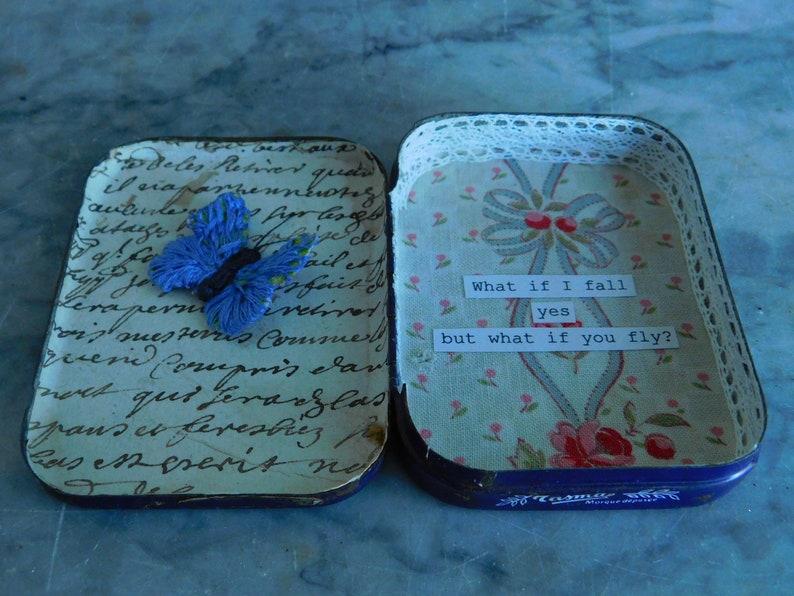 Altered altoid tin  Repurposed vintage tin  French vintage tin