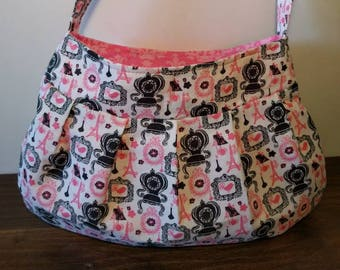 Small Purse, Small Buttercup bag, Small Handbag, Girls Purse, Shoulder Bag, Little Girl Tote, Date Night Purse, Eiffel Tower, french, pink