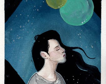 Girl with Black Hair Gouache and Watercolor Illustration 5.5 x 8.5