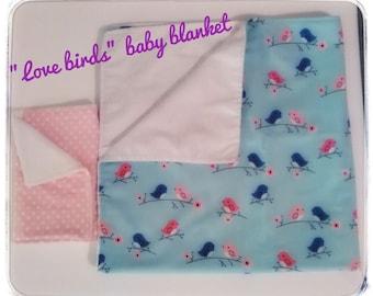 Love birds / Baby blanket/ baby receiving blanket/ swaddle blanket/ newborn swaddle wrap/ bird blanket/ baby gift/ shower gift/ newborn gift