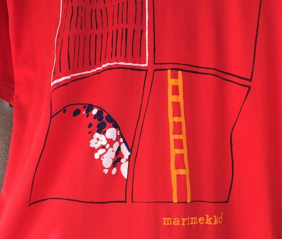 Marimekko printed red vintage shirt, top S-L