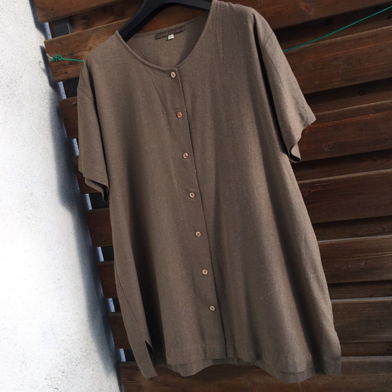 100% raw silk minimalist button down vintage shir… - image 6
