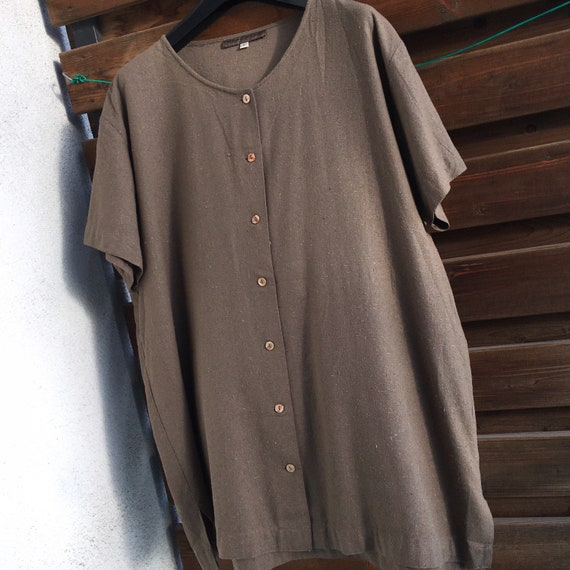100% raw silk minimalist button down vintage shir… - image 7