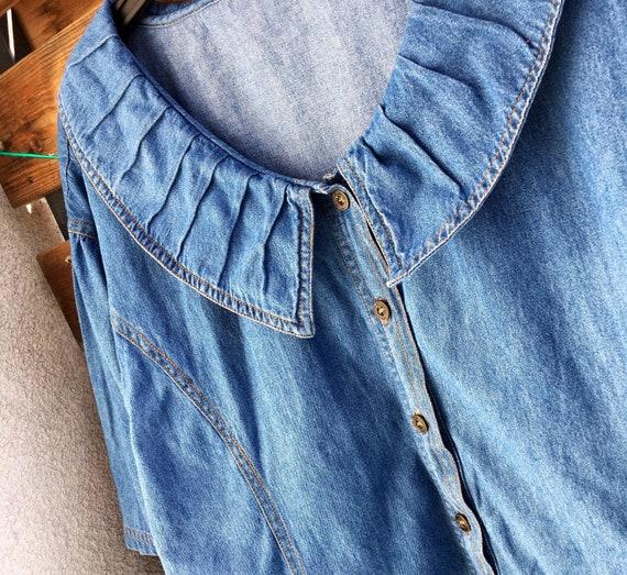 80s big collar vintage denim shirt / blouse L-XL