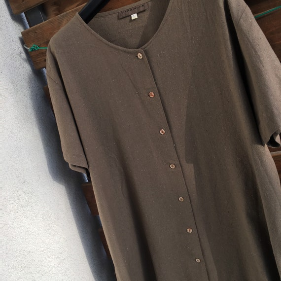 100% raw silk minimalist button down vintage shir… - image 2