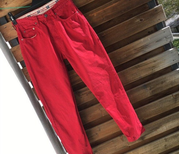 Levis 510 high waist red button fly jeans labelled