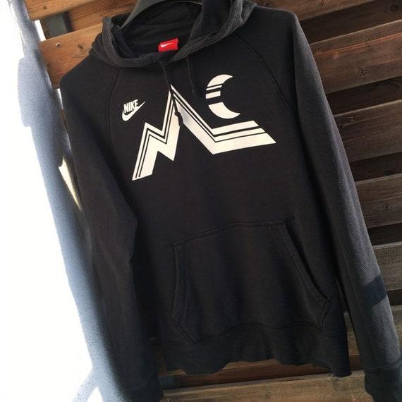 Nike official black vintage big logo hoodie sweatshirt S M