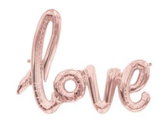 Or rose amour Script ballon, ballon de fiançailles, mariage amour ballon, ballon bannière Love