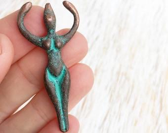 Greek Copper Patina Goddess Pendant 50mm x 20mm / 1pc, Blue Green Rustic Goddess, Metal Goddess Bead, Antique Copper Patina Goddess (MK015B)