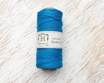 Neon Blue Bamboo Cord 1mm / 205ft, Macrame Cord, Crafters Cord, Natural Bamboo Twine, Polished Bamboo Cord Spool, Macrame String (HC001)