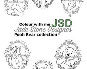 Winnie the pooh frame colletion adult colouring pages