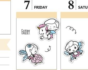 Pikku planner stickers - Fairy, S0051, Erin Condren Life planner stickers, fairy stickers, kawaii stickers, unicorn stickers