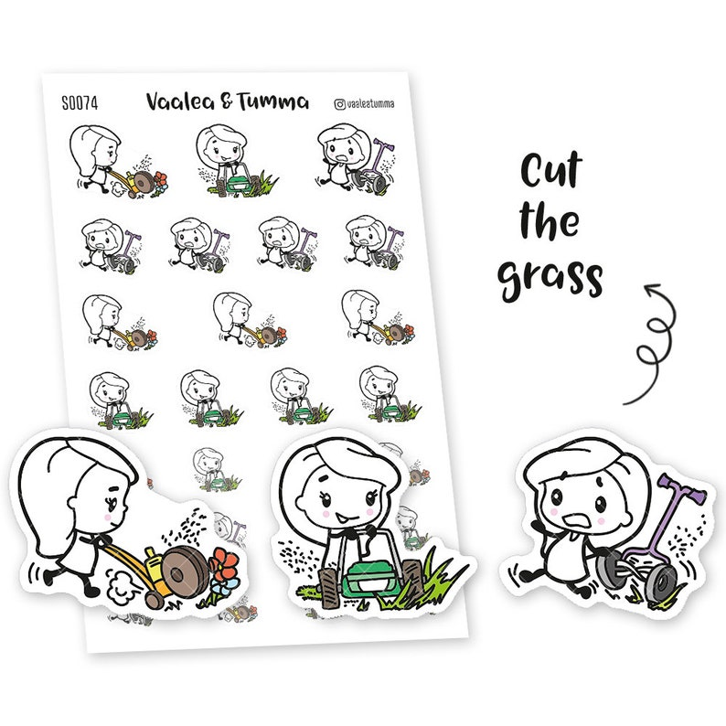 Planner stickers Pikku  Cut the grass S0074 eclp stickers image 0