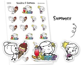 Pikku planner stickers - Summer, S0034, Erin Condren Life planner stickers, summer stickers, kawaii stickers, happy planner sticker