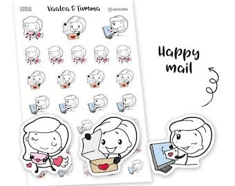 Pikku planner stickers - Happy mail, S0056, Erin Condren Life planner stickers, mail stickers, kawaii stickers, happy planner sticker