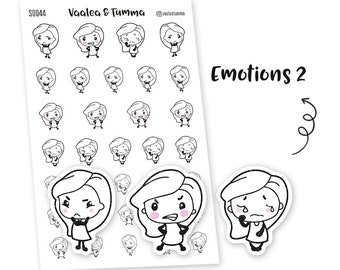 Pikku planner stickers - Emotions 2, S0044, Erin Condren Life planner stickers, emotions stickers, kawaii stickers, happy planner sticker