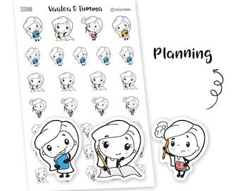 Pikku planner stickers - Planning, S0048, Erin Condren Life planner stickers, planning stickers, kawaii stickers, Happy planner stickers