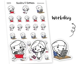 Pikku planner stickers - Workday, S0039, Erin Condren Life planner stickers, working day stickers, kawaii stickers, happy planner stickers
