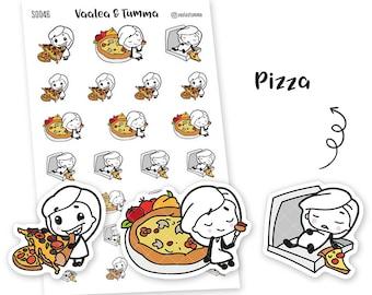 Pikku planner stickers - Pizza, S0046, Erin Condren Life planner stickers, pizza stickers, kawaii stickers, happy planner stickers