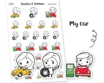 Pikku planner stickers - My car, S0027, Erin Condren Life planner stickers, car stickers, kawaii stickers, happy planner stickers, fueling