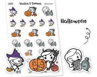 Pikku planner stickers - Halloween, S0043, Erin Condren Life planner stickers, halloween stickers, kawaii stickers, happy planner stickers