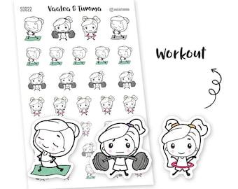 Pikku planner stickers - Workout, S0022, Erin Condren Life planner sticker, sport stickers, kawaii stickers, happy planner sticker, training