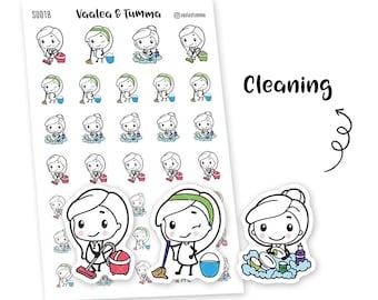 Pikku planner stickers - Cleaning, S0018, Erin Condren Life planner stickers, housework stickers, kawaii stickers, happy planner stickers