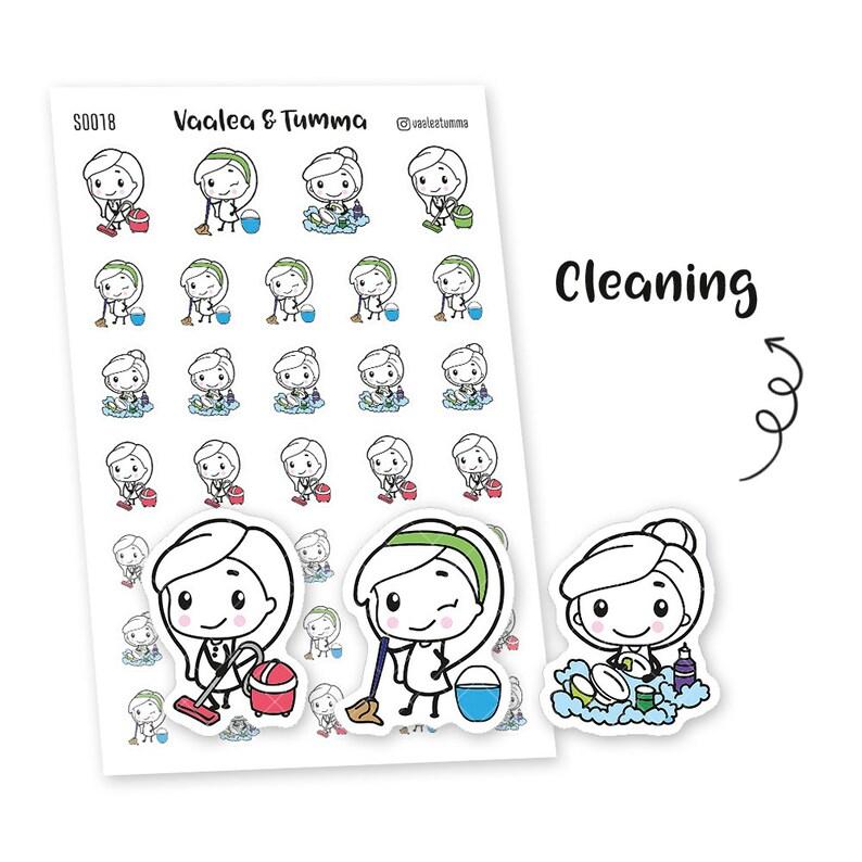 Pikku planner stickers  Cleaning S0018 Erin Condren Life image 0