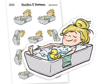 Take a bath planner stickers, Vaalea - S0359-360,  Girl in Bathtub planner stickers