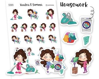 Tumma planner stickers - Housework, S0009, Erin Condren Life planner stickers, cleaning stickers, kawaii stickers, happy planner stickers