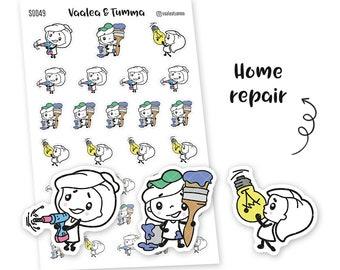 Pikku planner stickers - Home repair, S0049, Erin Condren Life planner stickers, repairs stickers, kawaii stickers, Happy planner stickers