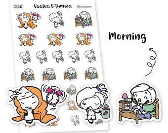 Pikku planner stickers - Morning, S0042, Erin Condren Life planner stickers, morning stickers, kawaii stickers, happy planner stickers, morn