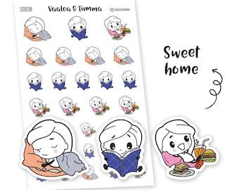 Pikku - Sweet home planner stickers, S0038, Erin Condren Life planner stickers, home rest stickers, kawaii stickers, happy planner stickers