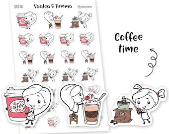 Pikku planner stickers - Coffee Time, S0016, Erin Condren Life planner stickers, coffee stickers, kawaii stickers, happy planner stickers