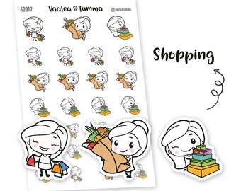 Pikku planner stickers - Shopping, S0017, Erin Condren Life planner stickers, purchases stickers, kawaii stickers, happy planner stickers