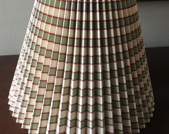 Medium Pleated Striped Green Red French Country Lampshare Pierre Deaux