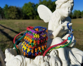 Crochet Amulet for Stones, Crystals, Spiritual Medicinal Talisman & Meditation Pouch, Rainbow, Hippie Love, Handmade for you!