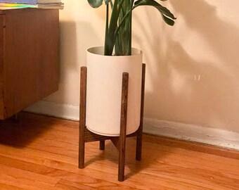 Plant Stand w/ Cylinder Pot - Mid Century Modern