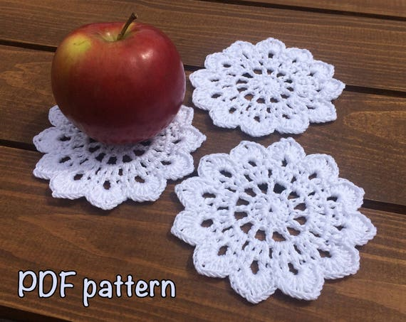 Crochet Coaster Pattern Coaster Crochet Pattern Cotton Coaster Etsy Magnificent Crochet Coaster Pattern
