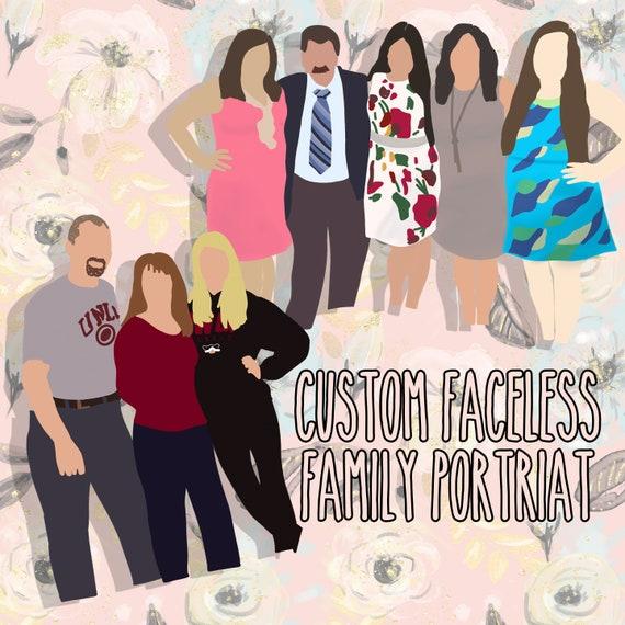 faceless family faceless art new home owner gift family illustration portrait faceless gift family poster faceless portrait