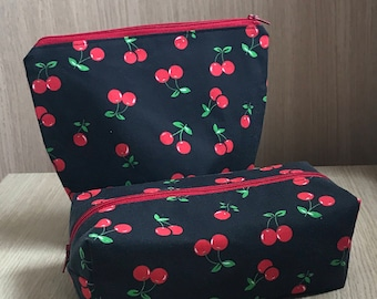 Red Cherries Cosmetic Bag Set, Cherry Print Make Up Bags, Cosmetic Purse,