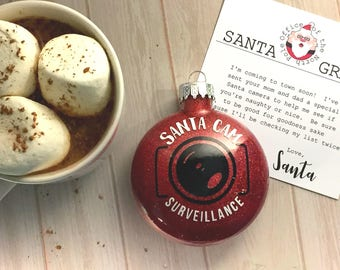 Santa cam ornament, Christmas ornament for kids, Christmas gift for mom, Personalized Christmas Ornament